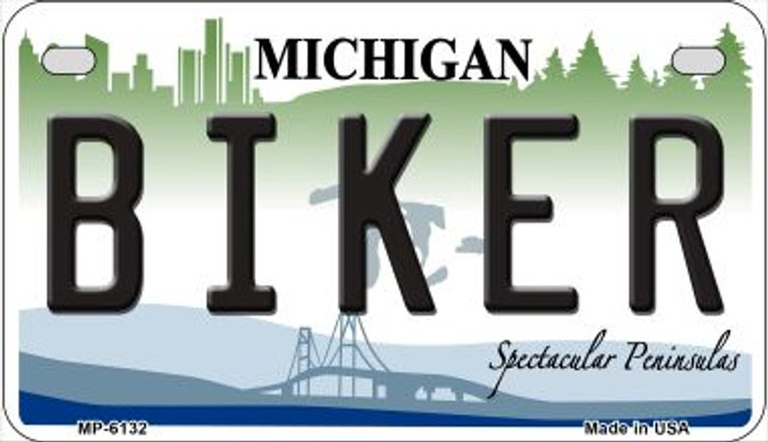 Biker Michigan Novelty Metal Motorcycle Plate MP-6132