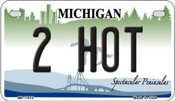 2 Hot Michigan Novelty Metal Motorcycle Plate MP-7915