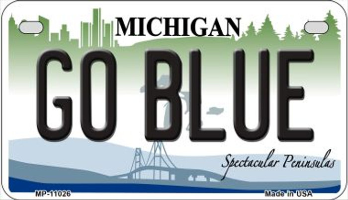 Go Blue Michigan Novelty Metal Motorcycle Plate MP-11026