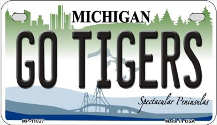 Go Tigers Michigan Novelty Metal Motorcycle Plate MP-11027