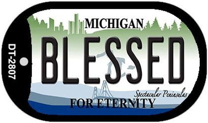 Blessed Michigan Novelty Metal Dog Tag Necklace DT-2807