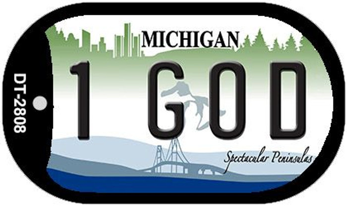 1 God Michigan Novelty Metal Dog Tag Necklace DT-2808
