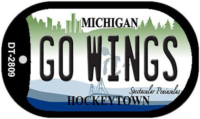 Go Wings Michigan Novelty Metal Dog Tag Necklace DT-2809