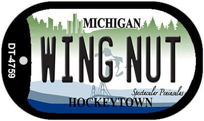 Wing Nut Michigan Novelty Metal Dog Tag Necklace DT-4759