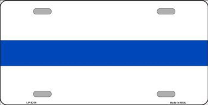 Thin Blue Line White Metal Novelty License Plate LP-4219