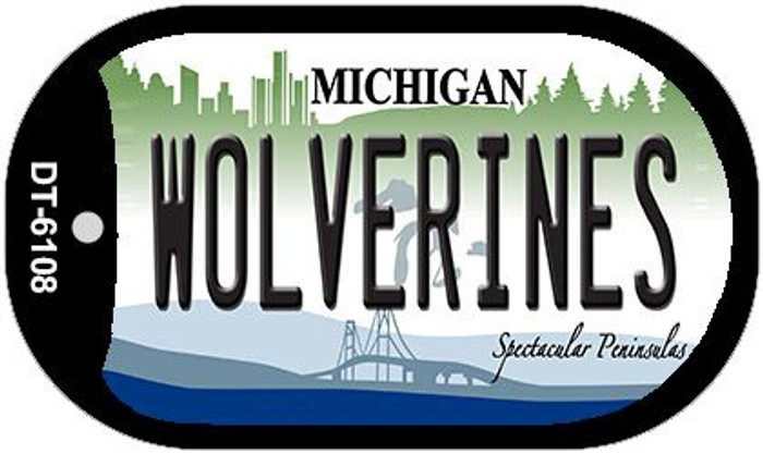 Wolverines Michigan Novelty Metal Dog Tag Necklace DT-6108