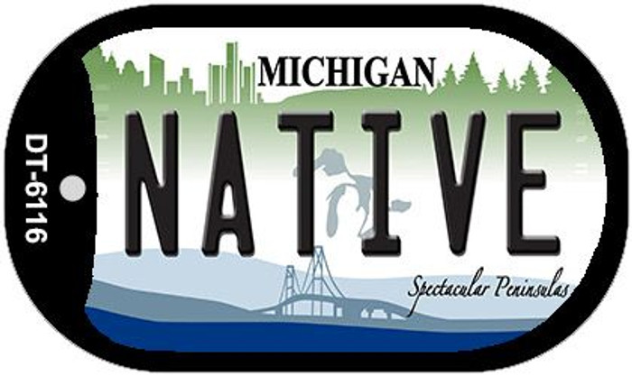 Native Michigan Novelty Metal Dog Tag Necklace DT-6116