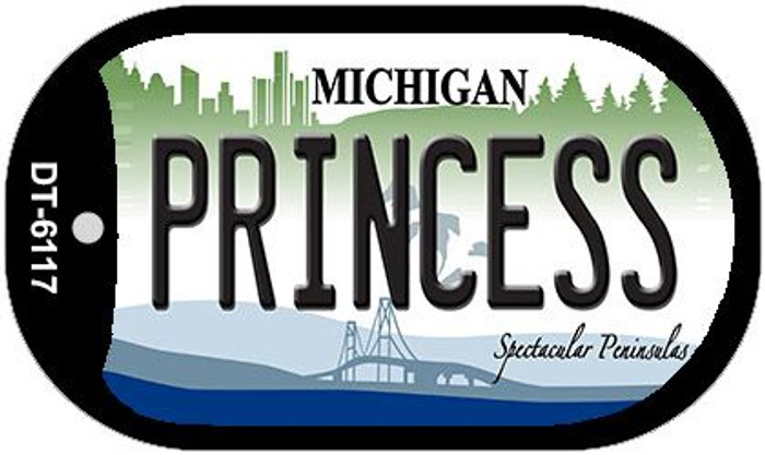 Princess Michigan Novelty Metal Dog Tag Necklace DT-6117