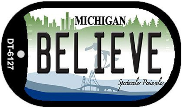 Believe Michigan Novelty Metal Dog Tag Necklace DT-6127
