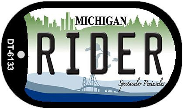 Rider Michigan Novelty Metal Dog Tag Necklace DT-6133