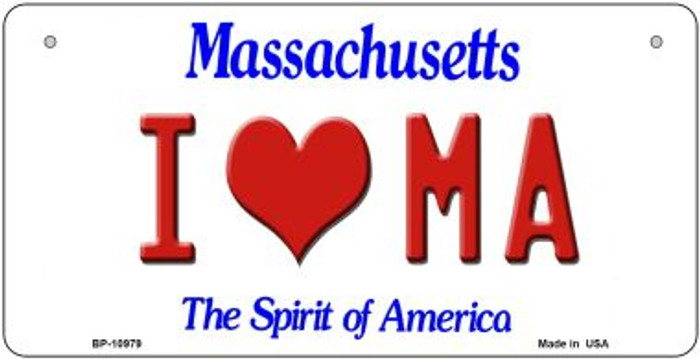 I Love MA Massachusetts Novelty Metal Bicycle Plate BP-10979