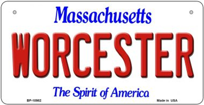 Worcester Massachusetts Novelty Metal Bicycle Plate BP-10982
