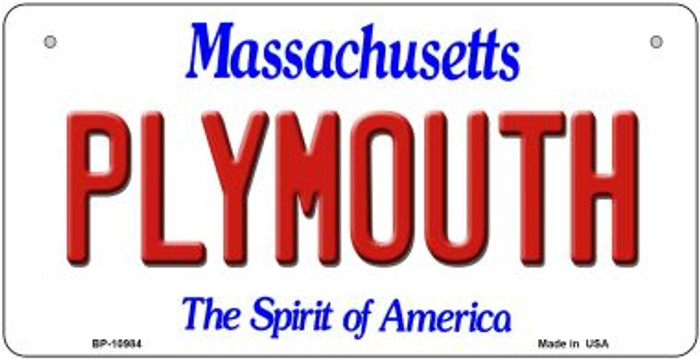 Plymouth Massachusetts Novelty Metal Bicycle Plate BP-10984