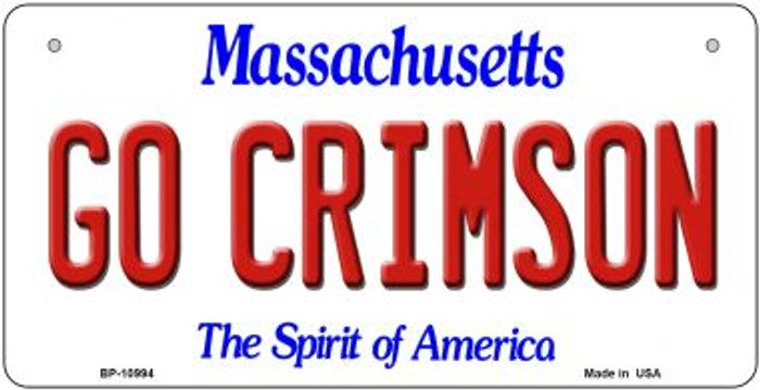 Go Crimson Massachusetts Novelty Metal Bicycle Plate BP-10994