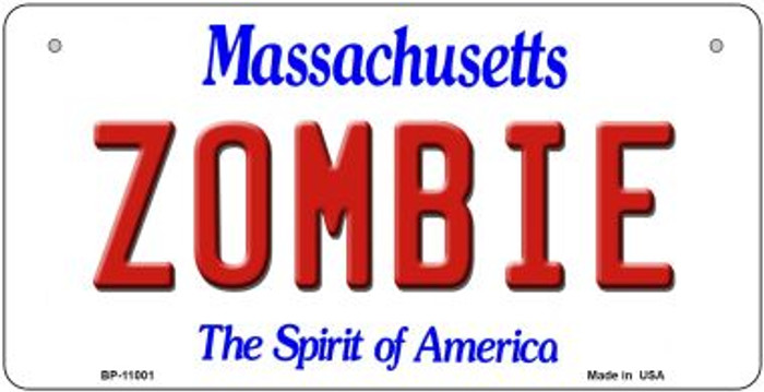 Zombie Massachusetts Novelty Metal Bicycle Plate BP-11001