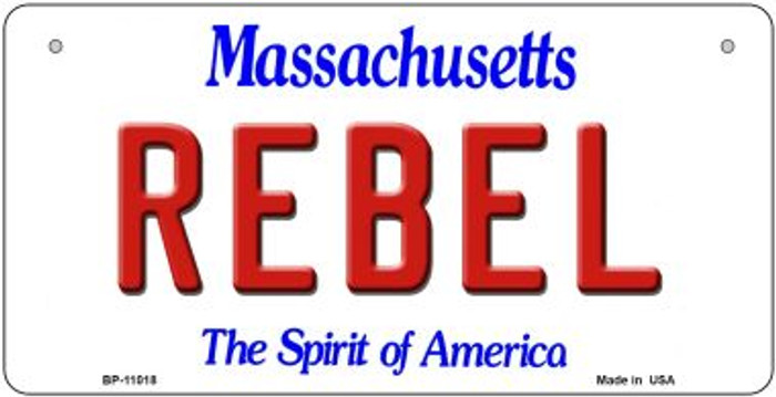 Rebel Massachusetts Novelty Metal Bicycle Plate BP-11018