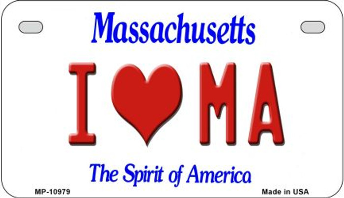 I Love MA Massachusetts Novelty Metal Motorcycle Plate MP-10979