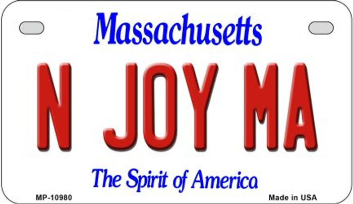 N Joy MA Massachusetts Novelty Metal Motorcycle Plate MP-10980