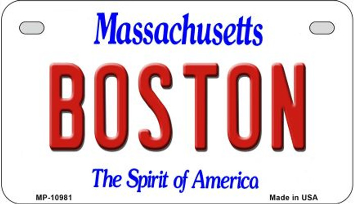 Boston Massachusetts Novelty Metal Motorcycle Plate MP-10981