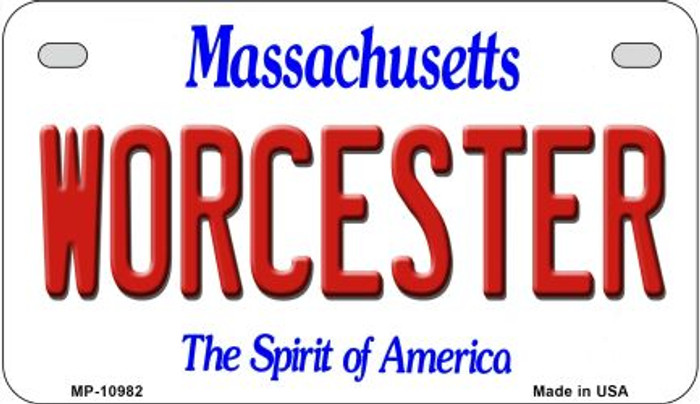 Worcester Massachusetts Novelty Metal Motorcycle Plate MP-10982
