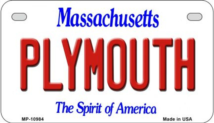 Plymouth Massachusetts Novelty Metal Motorcycle Plate MP-10984