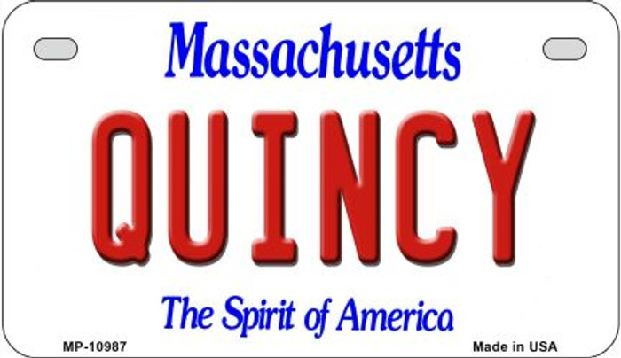 Quincy Massachusetts Novelty Metal Motorcycle Plate MP-10987