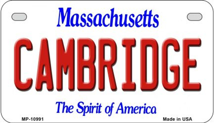 Cambridge Massachusetts Novelty Metal Motorcycle Plate MP-10991