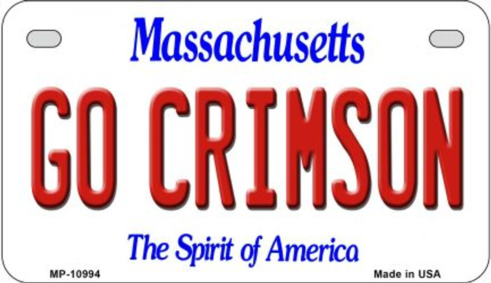 Go Crimson Massachusetts Novelty Metal Motorcycle Plate MP-10994