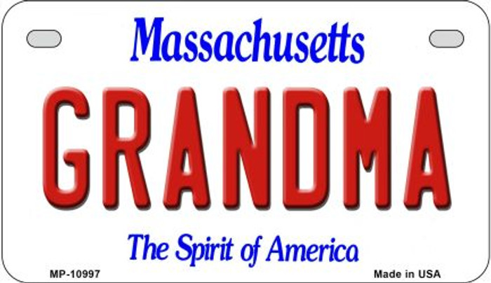 Grandma Massachusetts Novelty Metal Motorcycle Plate MP-10997