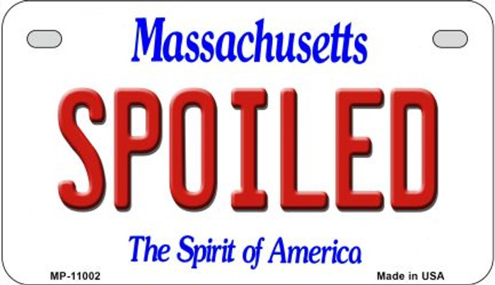 Spoiled Massachusetts Novelty Metal Motorcycle Plate MP-11002