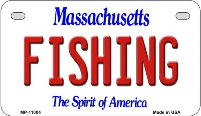 Fishing Massachusetts Novelty Metal Motorcycle Plate MP-11004