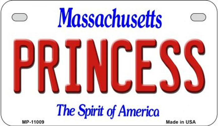 Princess Massachusetts Novelty Metal Motorcycle Plate MP-11009