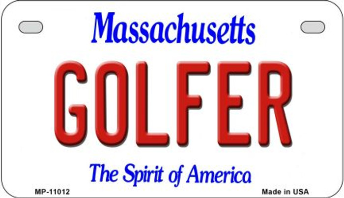 Golfer Massachusetts Novelty Metal Motorcycle Plate MP-11012