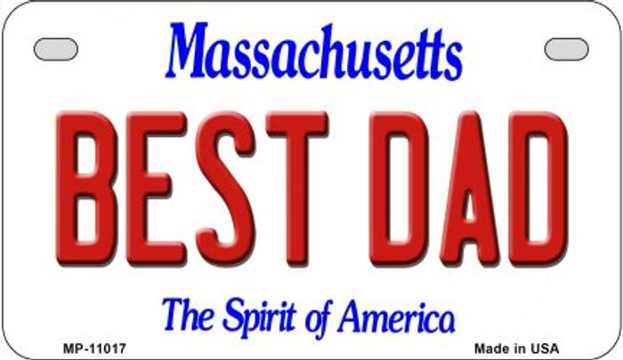 Best Dad Massachusetts Novelty Metal Motorcycle Plate MP-11017