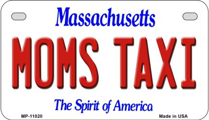 Moms Taxi Massachusetts Novelty Metal Motorcycle Plate MP-11020