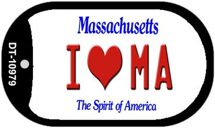 I Love MA Massachusetts Novelty Metal Dog Tag Necklace DT-10979