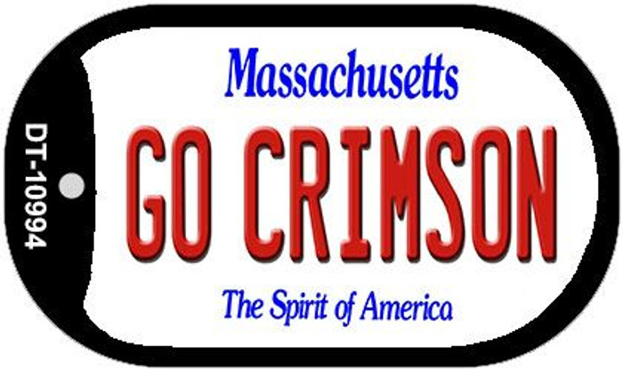 Go Crimson Massachusetts Novelty Metal Dog Tag Necklace DT-10994