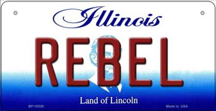 Rebel Illinois Novelty Metal Bicycle Plate BP-10320
