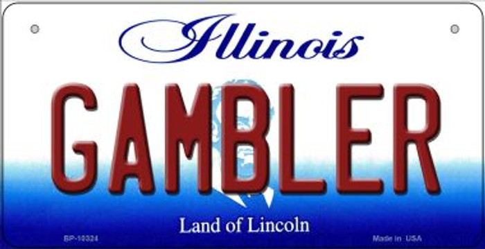 Gambler Illinois Novelty Metal Bicycle Plate BP-10324