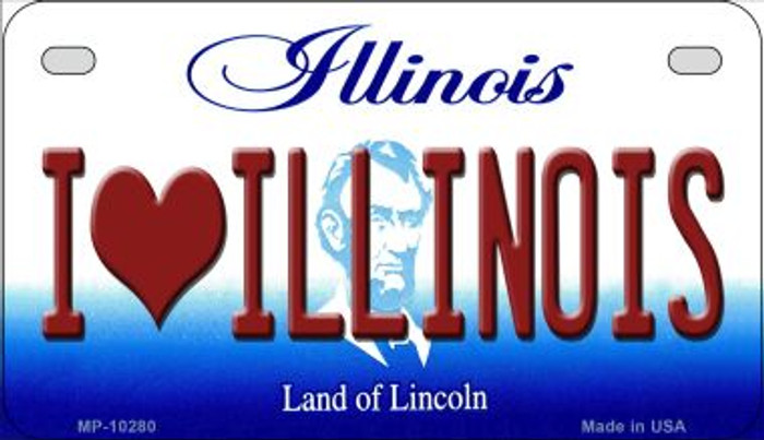 I Love Illinois Novelty Metal Motorcycle Plate MP-10280