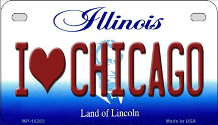 I Love Chicago Illinois Novelty Metal Motorcycle Plate MP-10283