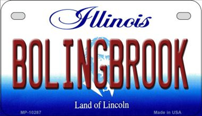 Bolingbrook Illinois Novelty Metal Motorcycle Plate MP-10287