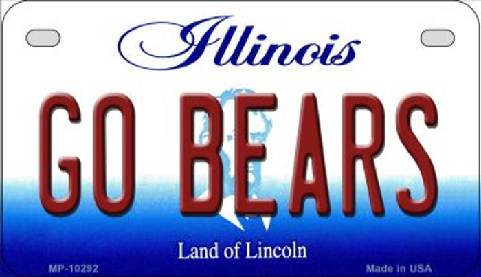 Go Bears Illinois Novelty Metal Motorcycle Plate MP-10292