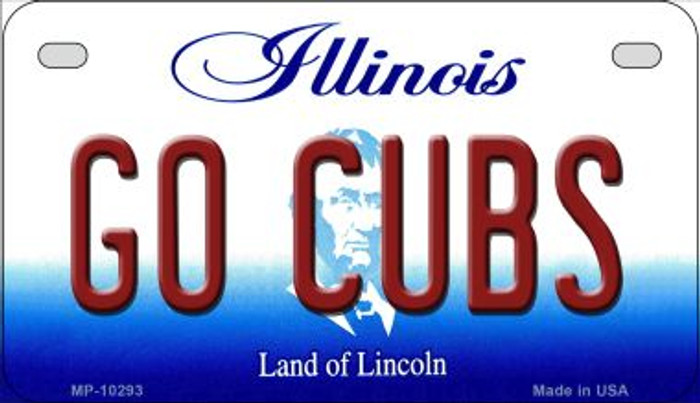 Go Cubs Illinois Novelty Metal Motorcycle Plate MP-10293