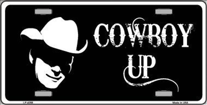 Cowboy Up License Metal Novelty License Plate LP-4255