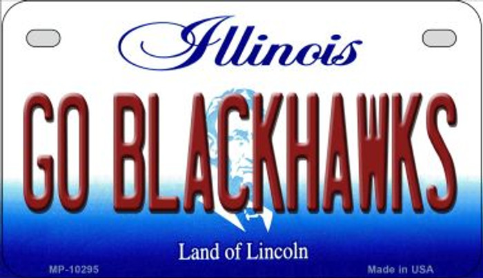 Go Blackhawks Illinois Novelty Metal Motorcycle Plate MP-10295