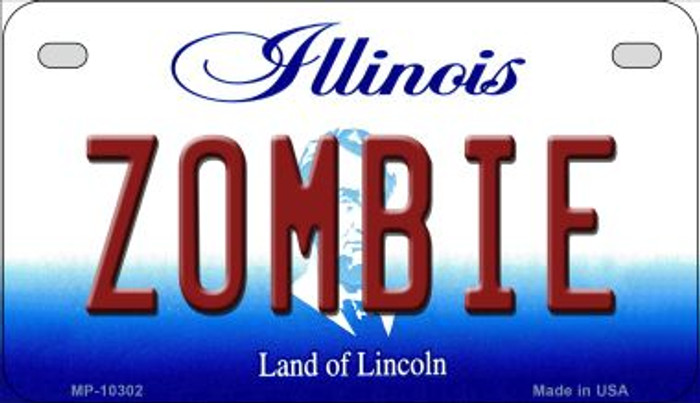 Zombie Illinois Novelty Metal Motorcycle Plate MP-10302