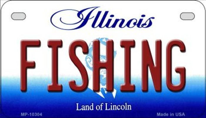 Fishing Illinois Novelty Metal Motorcycle Plate MP-10304