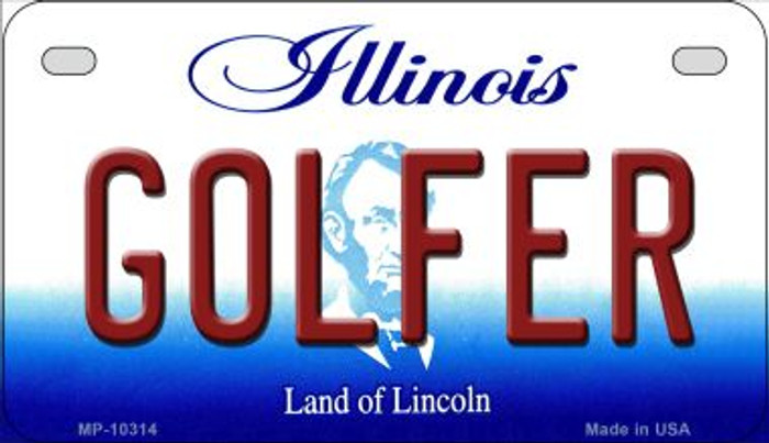 Golfer Illinois Novelty Metal Motorcycle Plate MP-10314