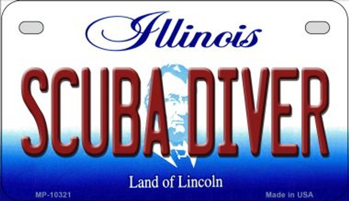 Scuba Diver Illinois Novelty Metal Motorcycle Plate MP-10321